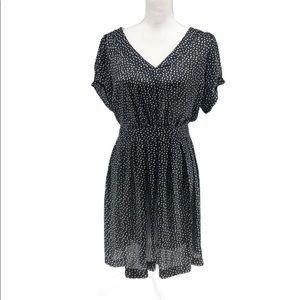 Bar III Black White Short-Sleeved Open Back Dress